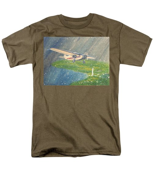 Island Airlines Ford Trimotor Over Put-in-bay In The Winter Men's T-Shirt  (Regular Fit) by Frank Hunter