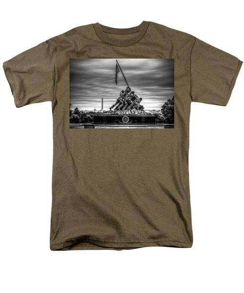Iwo Jima Monument Black And White Men's T-Shirt  (Regular Fit) by David Morefield