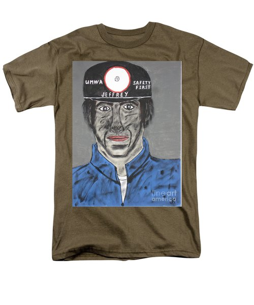 Men's T-Shirt  (Regular Fit) featuring the painting Jeffrey The Coal Miner by Jeffrey Koss