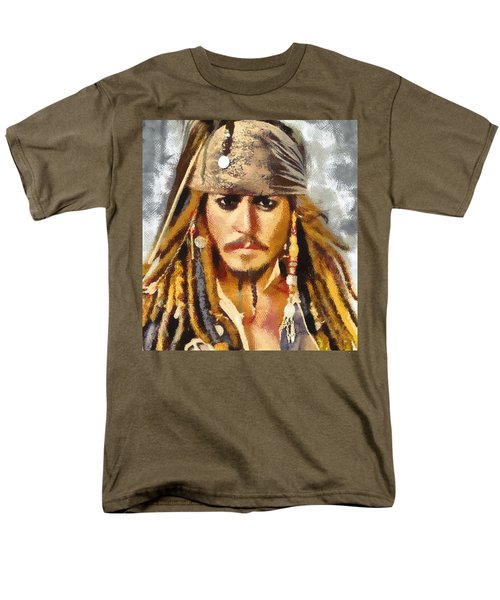 Men's T-Shirt  (Regular Fit) featuring the painting Johnny Depp Jack Sparrow Actor by Georgi Dimitrov