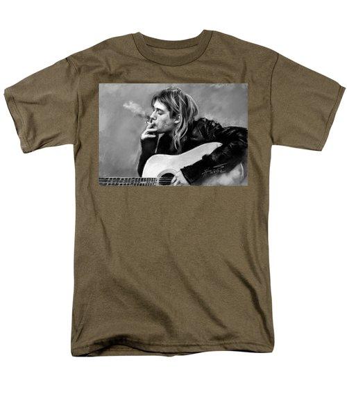 Men's T-Shirt  (Regular Fit) featuring the drawing Kurt Cobain Guitar  by Viola El