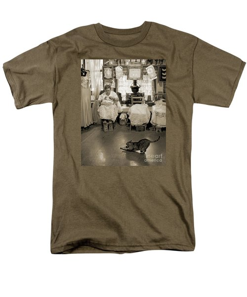 Men's T-Shirt  (Regular Fit) featuring the photograph Lace Lady Of Burano-bw by Jennie Breeze