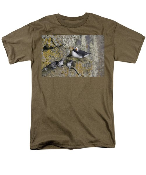 Least Auklets Perched On A Narrow Ledge Men's T-Shirt  (Regular Fit) by Milo Burcham