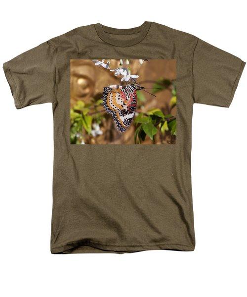 Men's T-Shirt  (Regular Fit) featuring the photograph Leopard Lacewing Butterfly Dthu619 by Gerry Gantt