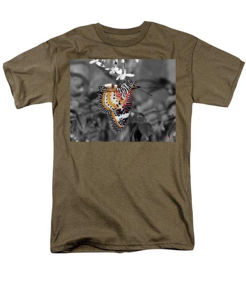 Men's T-Shirt  (Regular Fit) featuring the photograph Leopard Lacewing Butterfly Dthu619bw by Gerry Gantt
