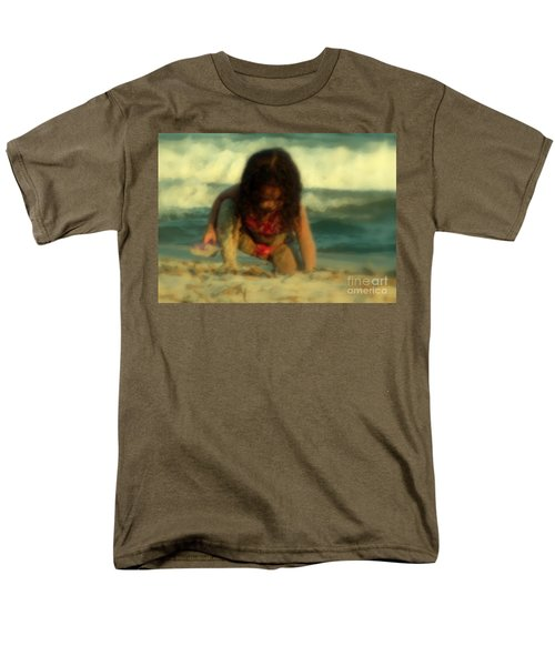 Men's T-Shirt  (Regular Fit) featuring the photograph Little Girl At The Beach by Lydia Holly