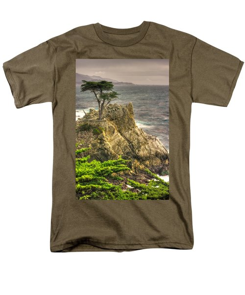 Lone Cypress On The Monterey Peninsula - No. 1 Looking Across Carmel Bay Spring Mid-afternoon Men's T-Shirt  (Regular Fit) by Michael Mazaika