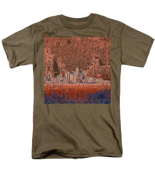 Los Angeles Skyline Abstract 7 Men's T-Shirt  (Regular Fit) by Bekim Art