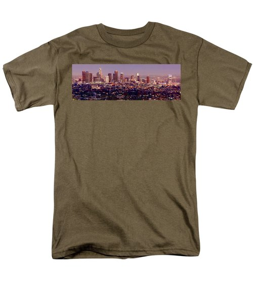 Los Angeles Skyline At Dusk Men's T-Shirt  (Regular Fit) by Jon Holiday