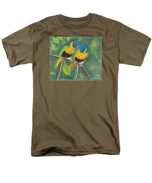 Men's T-Shirt  (Regular Fit) featuring the pastel Love Birds by David Jackson