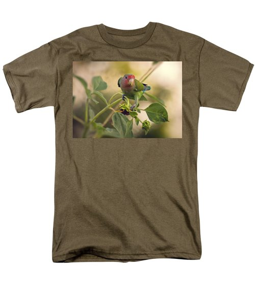 Lovebird On  Sunflower Branch  Men's T-Shirt  (Regular Fit) by Saija  Lehtonen