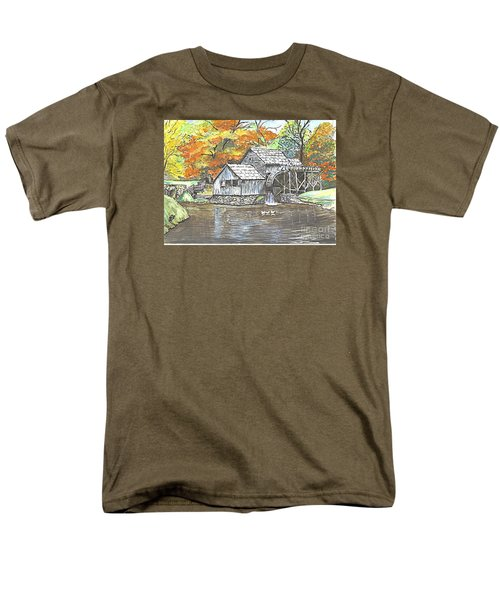 Men's T-Shirt  (Regular Fit) featuring the painting Mabry Grist Mill In Virginia Usa by Carol Wisniewski