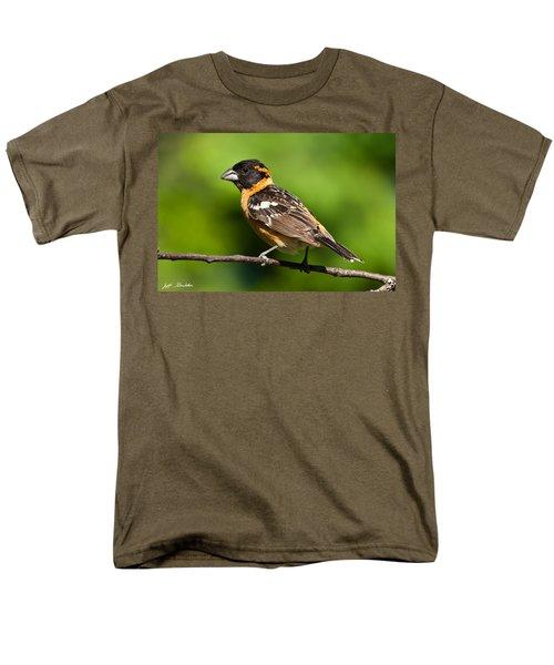Male Black Headed Grosbeak In A Tree Men's T-Shirt  (Regular Fit) by Jeff Goulden