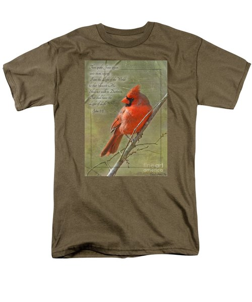 Male Cardinal On Twigs With Bible Verse Men's T-Shirt  (Regular Fit) by Debbie Portwood