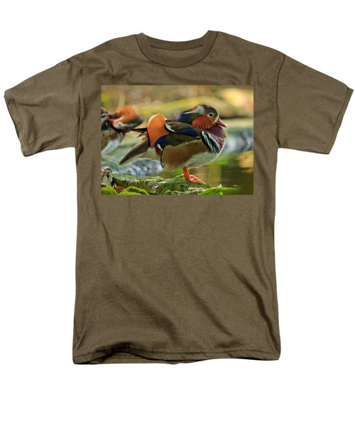 Men's T-Shirt  (Regular Fit) featuring the photograph Male Mandarin Duck On A Rock by Eti Reid