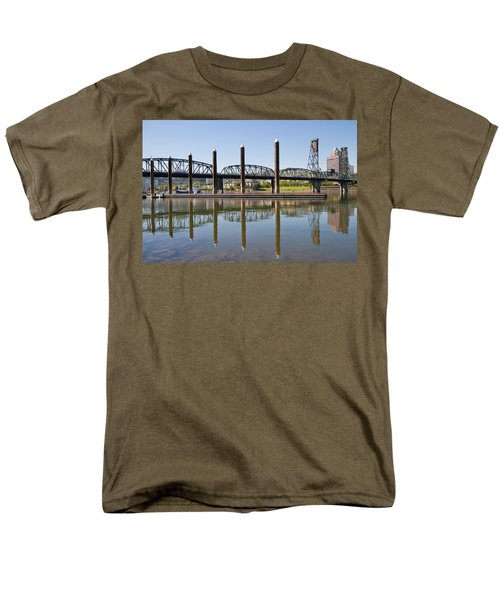 Men's T-Shirt  (Regular Fit) featuring the photograph Marina By Willamette River In Portland Oregon by JPLDesigns