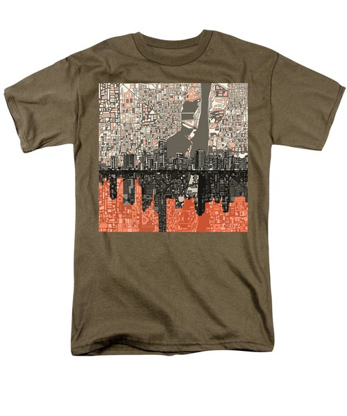 Miami Skyline Abstract 2 Men's T-Shirt  (Regular Fit) by Bekim Art