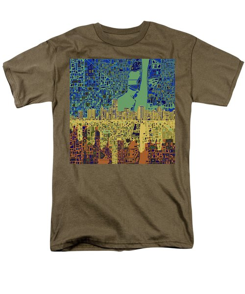 Miami Skyline Abstract 7 Men's T-Shirt  (Regular Fit) by Bekim Art