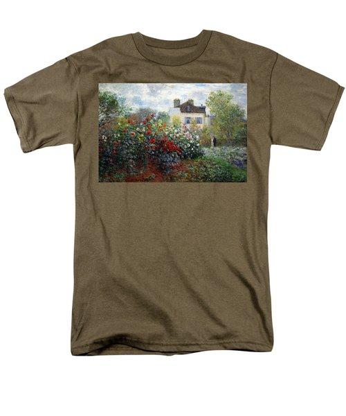 Men's T-Shirt  (Regular Fit) featuring the photograph Monet's The Artist's Garden In Argenteuil  -- A Corner Of The Garden With Dahlias by Cora Wandel