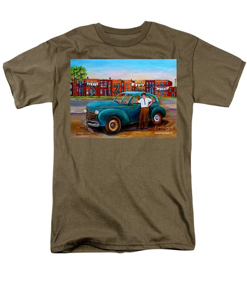 Montreal Taxi Driver 1940 Cab Vintage Car Montreal Memories Row Houses City Scenes Carole Spandau Men's T-Shirt  (Regular Fit) by Carole Spandau
