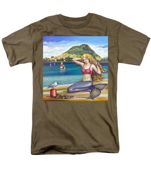 Men's T-Shirt  (Regular Fit) featuring the painting Mount Maunganui Beach Mermaid 160313 by Selena Boron