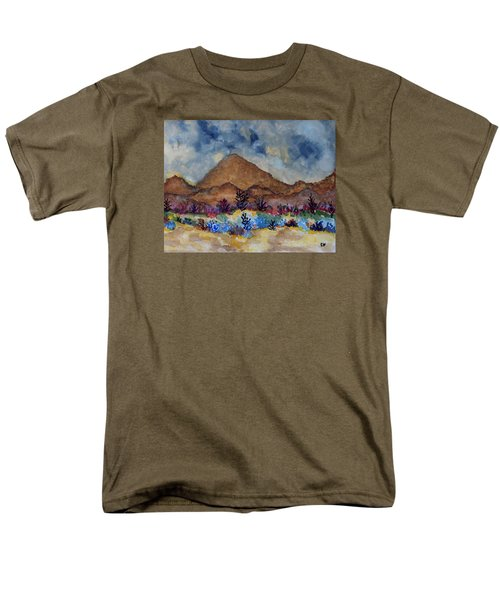Men's T-Shirt  (Regular Fit) featuring the painting Mountain Desert Scene by Connie Valasco