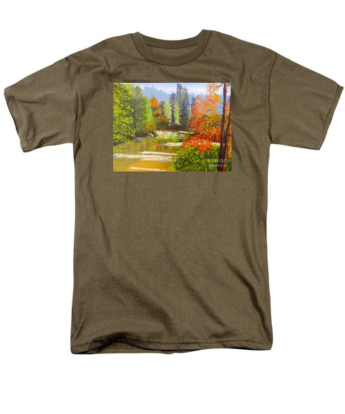 Men's T-Shirt  (Regular Fit) featuring the painting Mountain Stream by Pamela  Meredith