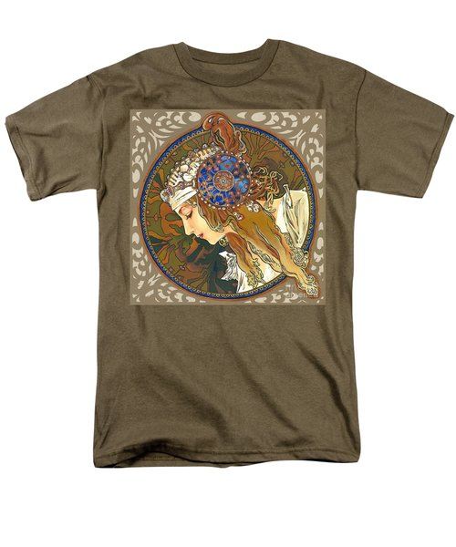 My Acrylic Painting As Interpretation Of Alphonse Mucha- Byzantine Head. The Blonde. Diagonal Frame. Men's T-Shirt  (Regular Fit) by Elena Yakubovich