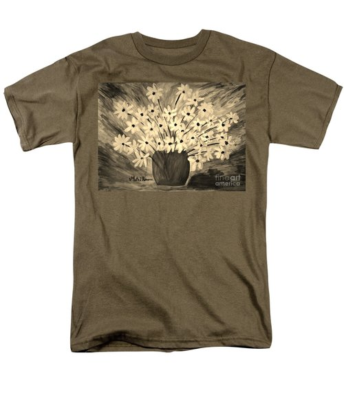 Men's T-Shirt  (Regular Fit) featuring the painting My Daisies Sepia Version by Ramona Matei