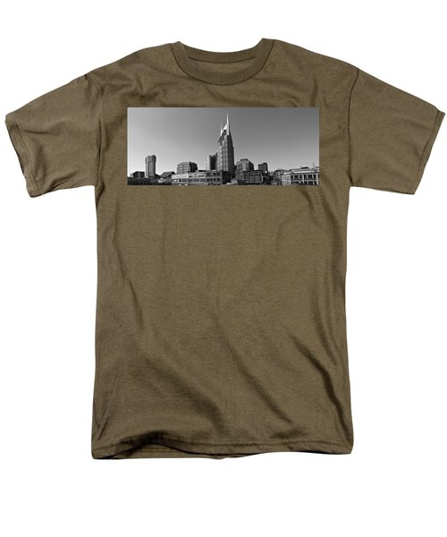 Nashville Tennessee Skyline Black And White Men's T-Shirt  (Regular Fit) by Dan Sproul