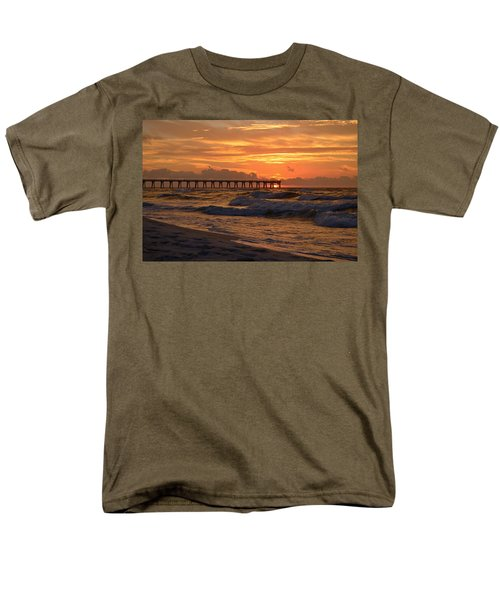 Navarre Pier At Sunrise With Waves Men's T-Shirt  (Regular Fit) by Jeff at JSJ Photography