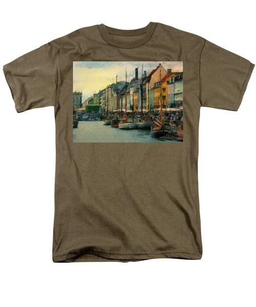 Men's T-Shirt  (Regular Fit) featuring the painting Nayhavn Street by Jeff Kolker
