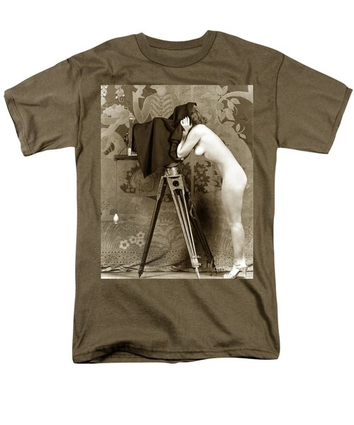 Nude In High Heel Shoes With Studio Camera Circa 1920 Men's T-Shirt  (Regular Fit) by California Views Mr Pat Hathaway Archives