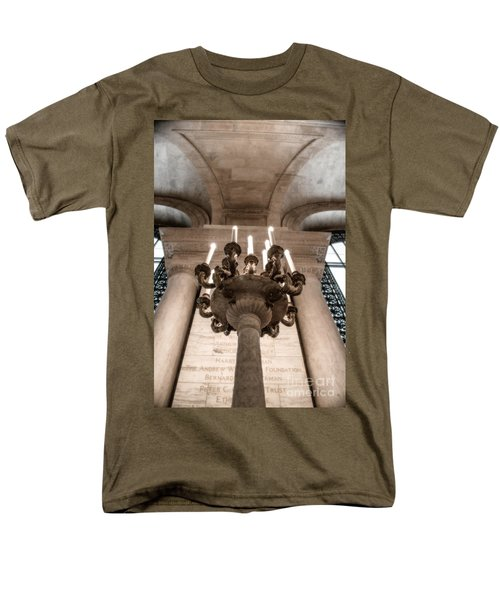 Men's T-Shirt  (Regular Fit) featuring the photograph Ny Public Library Candelabra by Angela DeFrias