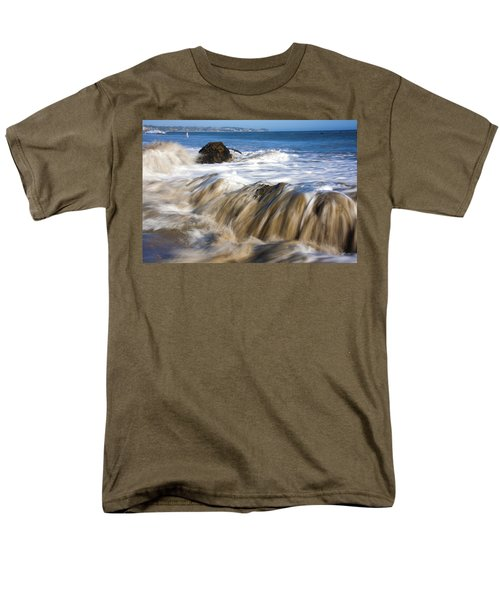 Ocean Waves Breaking Over The Rocks Photography Men's T-Shirt  (Regular Fit) by Jerry Cowart
