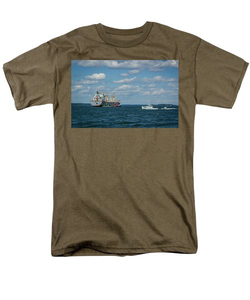 Men's T-Shirt  (Regular Fit) featuring the photograph Oil Tanker And Lobster Boat by Jane Luxton