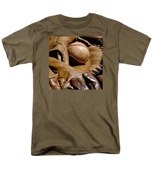 Old Baseball Ball And Gloves Men's T-Shirt  (Regular Fit) by Art Block Collections