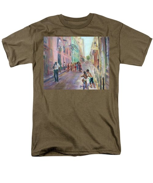 Old Havana Street Life - Sale - Large Scenic Cityscape Painting Men's T-Shirt  (Regular Fit) by Quin Sweetman