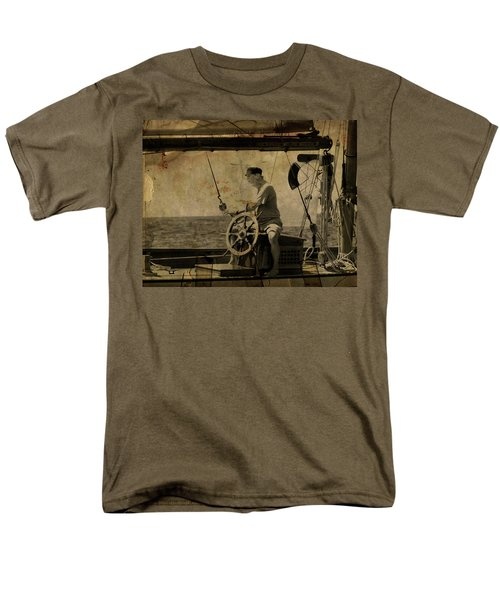 Men's T-Shirt  (Regular Fit) featuring the photograph old sailor A vintage processed photo of a sailor sitted behind the rudder in Mediterranean sailing by Pedro Cardona