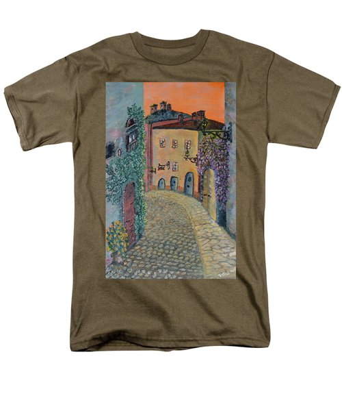 Men's T-Shirt  (Regular Fit) featuring the painting Old Town In Piedmont by Felicia Tica