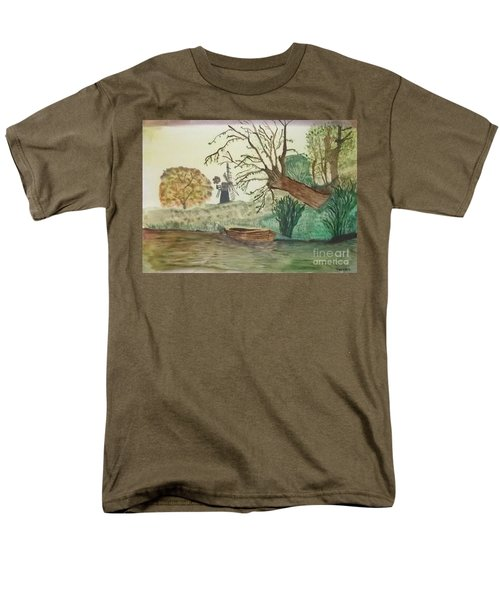 Men's T-Shirt  (Regular Fit) featuring the painting Old Willow And Boat by Tracey Williams