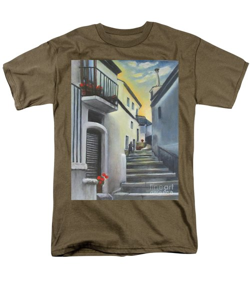 Men's T-Shirt  (Regular Fit) featuring the painting On The Way To Mamma's House In Castelluccio Italy by Lucia Grilletto