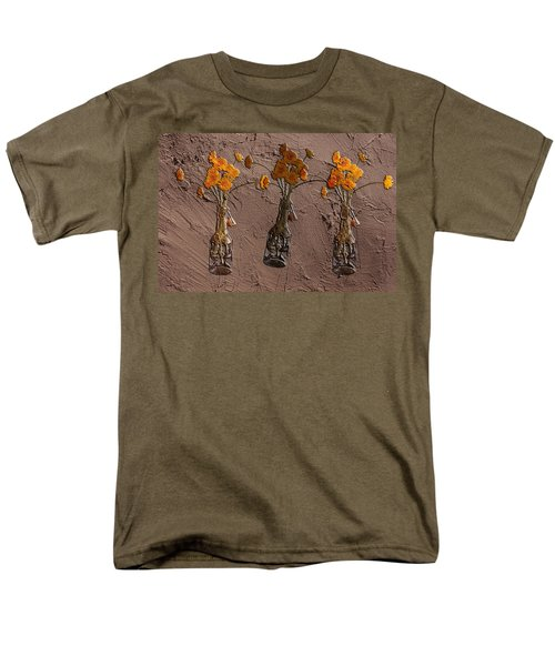 Orange Flowers Embedded In Adobe Men's T-Shirt  (Regular Fit) by Don Gradner