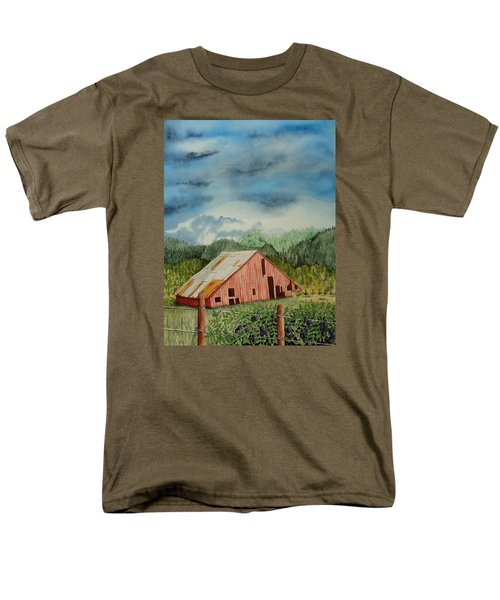 Men's T-Shirt  (Regular Fit) featuring the painting Oregon Barn by Katherine Young-Beck