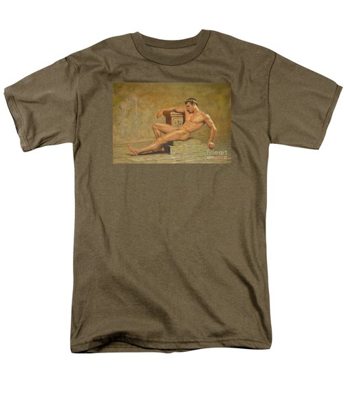 Original Classic Oil Painting Gay Man Body Art Male Nude -023 Men's T-Shirt  (Regular Fit) by Hongtao     Huang