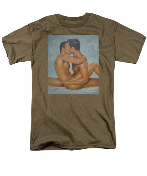Original Man Oil Painting Gay Body Art- Two Male Nude On Canvas Men's T-Shirt  (Regular Fit) by Hongtao     Huang
