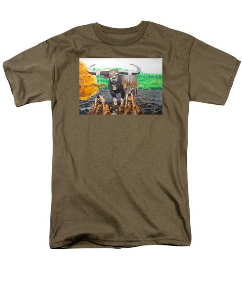 Men's T-Shirt  (Regular Fit) featuring the painting Paths In The Soil  by Lazaro Hurtado