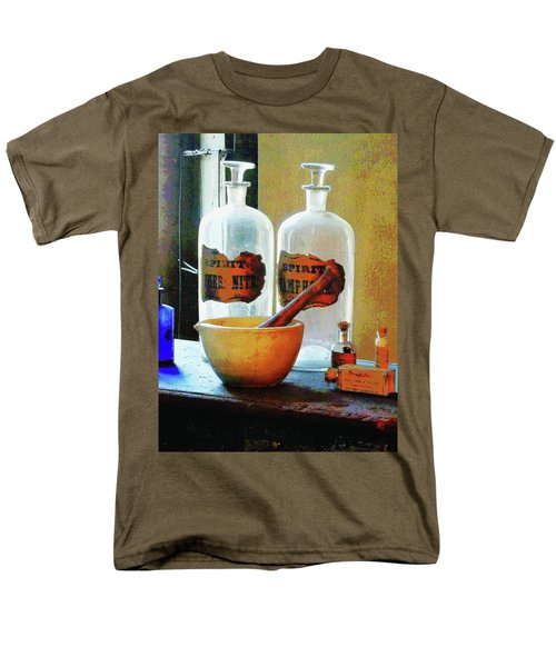 Men's T-Shirt  (Regular Fit) featuring the photograph Pharmacist - Mortar And Pestle With Bottles by Susan Savad