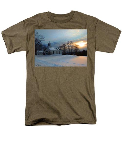 Piermont Church In Winter Light Men's T-Shirt  (Regular Fit) by Nancy Griswold