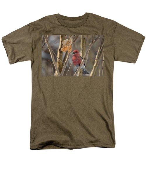 Men's T-Shirt  (Regular Fit) featuring the photograph Pine Grosbeak by David Porteus